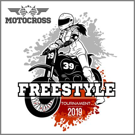 Girls and bikes - Female Motocross Vector Design Illustration Ilustrace