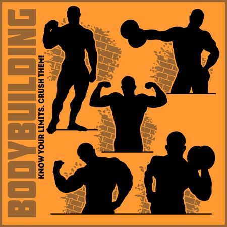 Silhouettes of Bodybuilders - Gym Vector Icon Set isolated on white