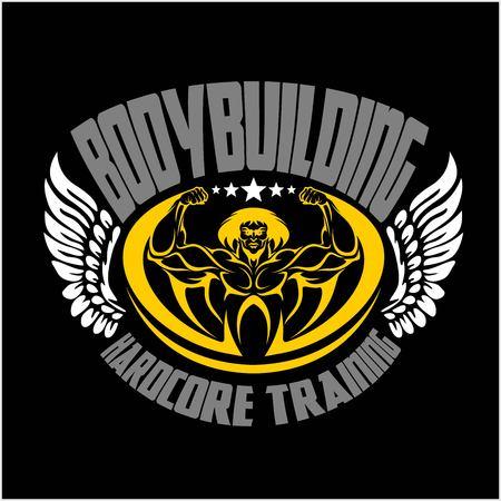 Hard work. Bodybuilding emblem, logo. Vector emblem.