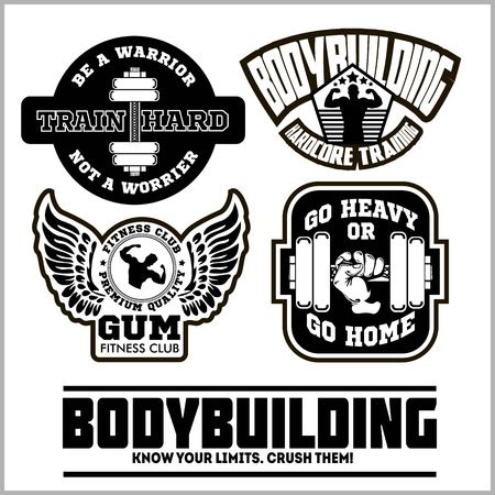 Set of bodybuilding emblems in black colour.