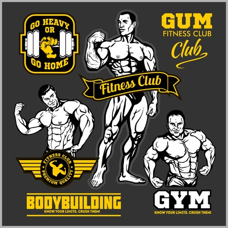 Set of bodybuilding emblems with sport equipment. Vector illustration