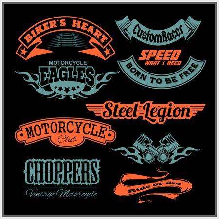 Motorcycle vector set with vintage custom logos, badges, design elements for templates. Ilustrace