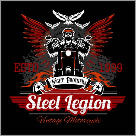 Custom motorcycles club Badge or Label With biker, wings and flame. Stell Legion. Stock Illustratie