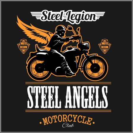 Stell Angels - Custom motorcycles club Badge or Label With biker, wings and flame. Stell Legion.