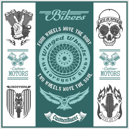 Motorcycle vector set with vintage custom logos, badges, bikers design elements for templates.