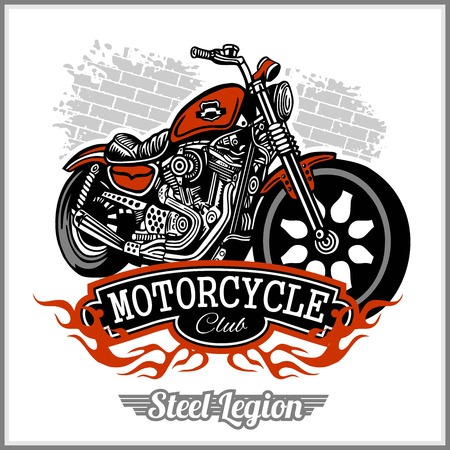 Motorcycle label t-shirt design with illustration of custom chopper - vector stock