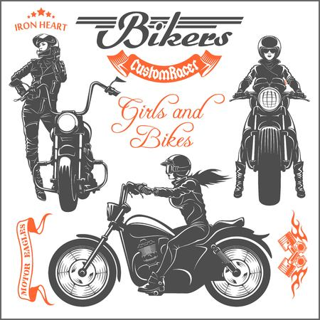 Girls ride a motorbike - vector set. Biker party poster design. Vector illustration Illustration