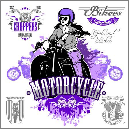 Beautiful girl on a motorcycle draw in retro style on white background. Ilustração