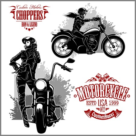 Girls ride a motorbike - vector set. Biker party poster design. Vector illustration Çizim