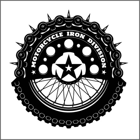 Motorcycle wheel and chain - Hi, Brothers. Biker greeting. Motorcycle vector elements for vintage custom logos, badges, design emblem.