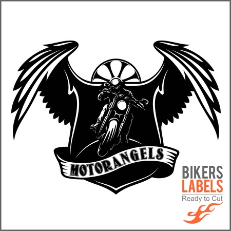 Wings and motorcycle - Badge or Label With biker, wings and flame. Steel Legion. Stock Illustratie