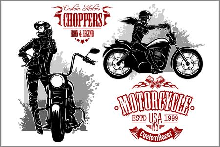 Girls ride a motorbike. Biker party poster design. Vector illustration