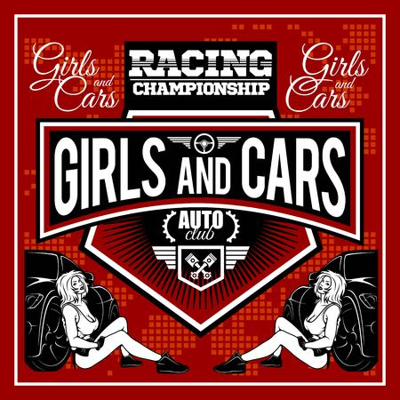 Racer woman design - Street Racing. Auto Motor Racing - vector label