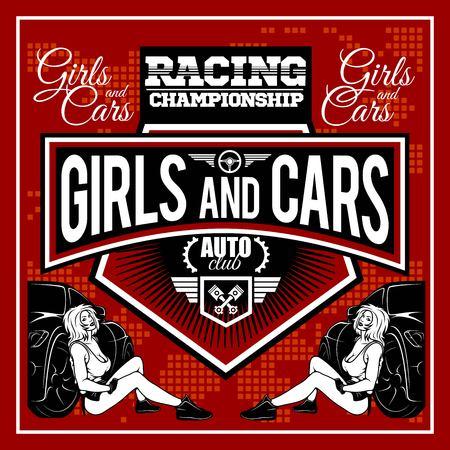 Racer woman design - Street Racing. Auto Motor Racing - vector label