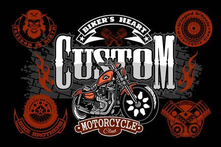 Motorcycle Chopper logo. Vector vintage garage logotype. Motorbike.