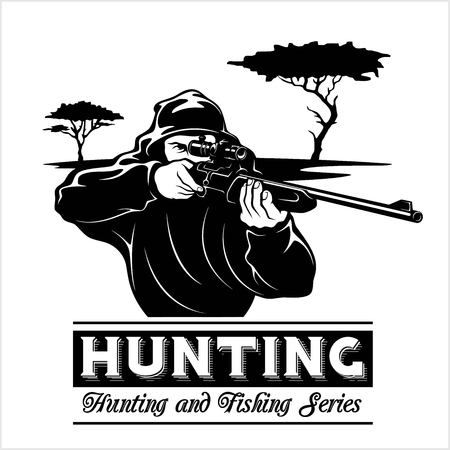 Shooter - man aims with a rifle. Hunting illustration in the engraving style isolated on white