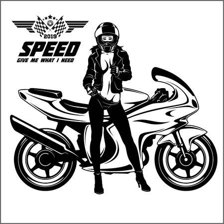 Woman and sport motorbike - monochrome vector illustration. Vetores
