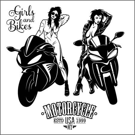 Mujer y moto deportiva - ilustración de vector monocromo aislado en blanco. Ilustración de vector