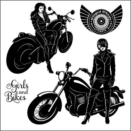 Sexy biker girl - monochrome vector illustration on white.