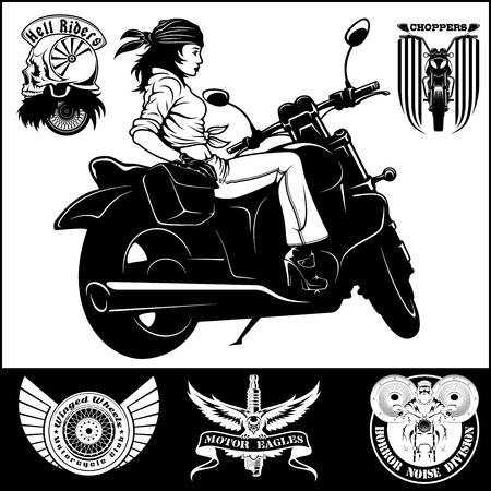 Woman and motorbike - monochrome illustration Stock Photo