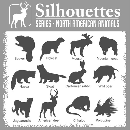 Silhouettes - North American animals. Stock Photo