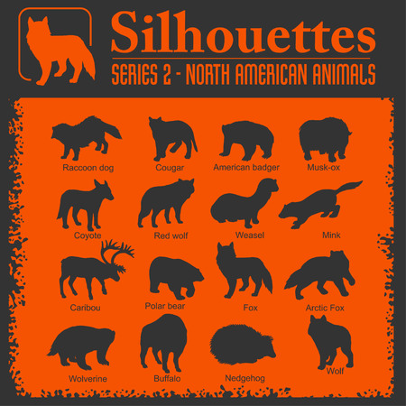 Silhouettes - North American animals. Stock Photo - 118846226
