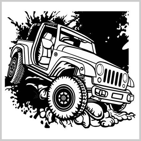 Monochrom-Vorlage für Geländewagen für Etiketten, Embleme, Abzeichen oder Logos