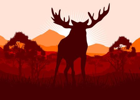Elk in wild nature landscape illustration Reklamní fotografie - 118846433