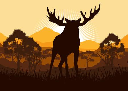 Elk in wild nature landscape illustration