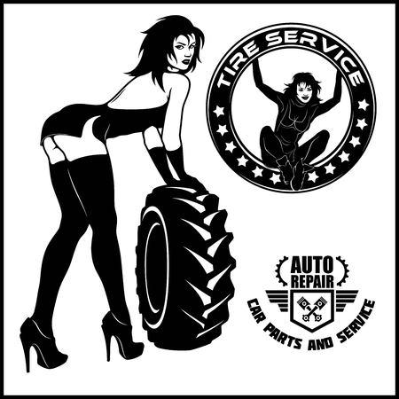 Women mechanic cartoon character. Tire fitting service. Vector stock illustration.