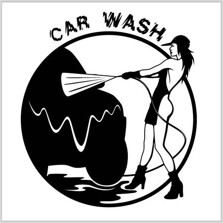 Girl on car wash. Cleaning service. vector illustration. Isolated on white