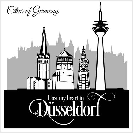 Dusseldorf - City in Germany. Detailed architecture. Trendy vector illustration. Ilustrace