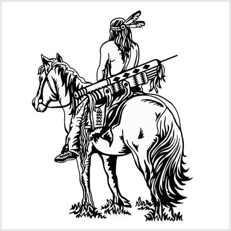 Nativo americano - cavaliere a cavallo. Isolato su sfondo bianco.