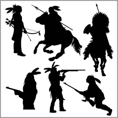 wild west silhouettes - native american warriors