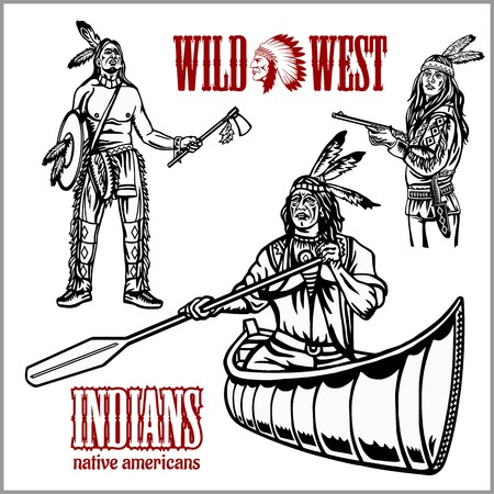 Nativos americanos indios de remo en canoa