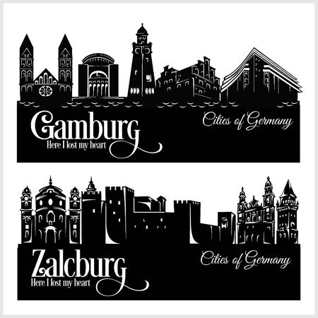 Hamburg und Zalzburg - Stadt in Deutschland. Detaillierte Architektur. Trendige Vektorillustration.