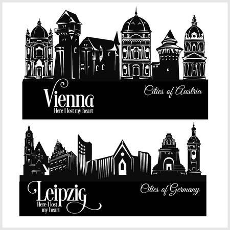 City in Europe - Vienna Austria and Leipzig Germany. Detailed architecture. Trendy vector illustration.