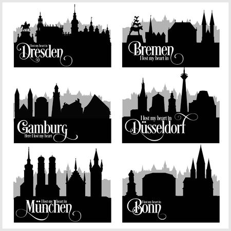 Citys of Germany - vector set. Detailed architecture. Trendy vector illustration. Stock Illustratie