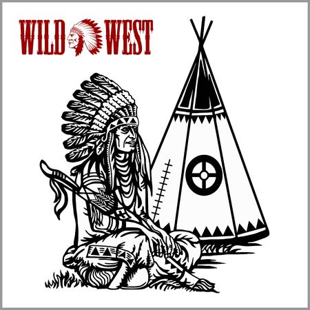 Poster in wild West style. Indian tent or wigwam teepee and American native chief. Cartoon vector close-up illustration.