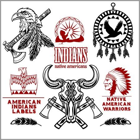 Conjunto de elementos diseñados por los indios americanos del salvaje oeste. Estilo monocromático