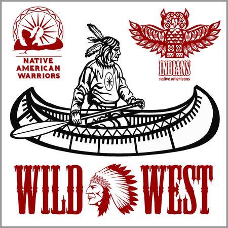 Inheemse Amerikaanse roei-indiaan in kanoboot - vectorillustratie geïsoleerd op wit