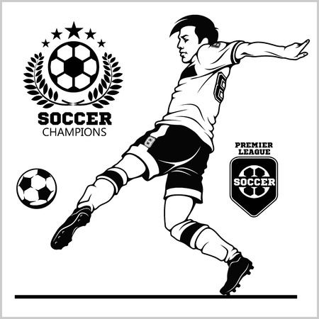 Soccer player kicking ball and football emblems. Illustration