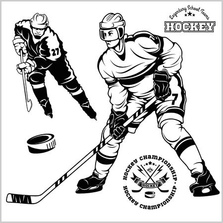 Ice Hockey Players - vector set - isolated on white