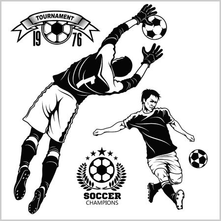 Soccer football players running and kicking a ball - sports illustration