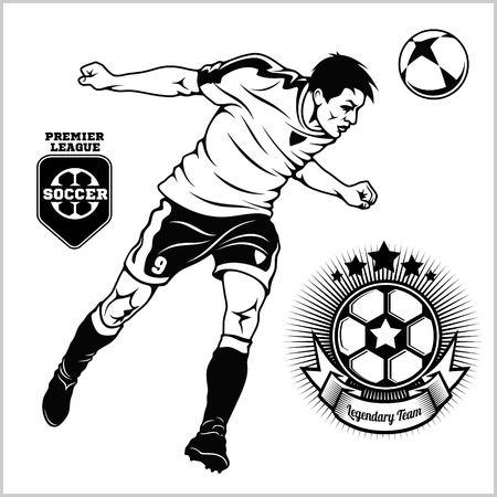 Calciatore di calcio che corre e dà dei calci a una palla - illustrazione sportiva