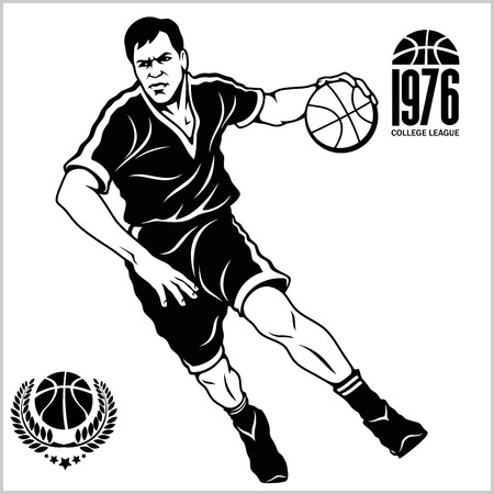 Basketball player. Vector stock illustration and labels, isolated on white background Illustration