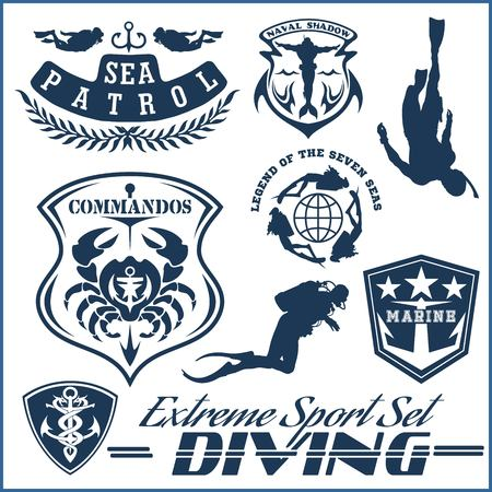 Set of Scuba diving club and diving school design. Vector illustration isolated on white.