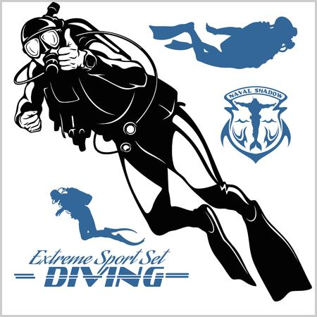 Set of scuba diver silhouette and diving labels Vectores