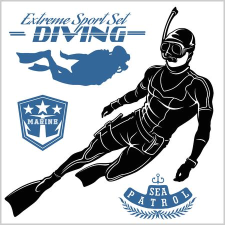 Set of scuba diver silhouette and diving labels