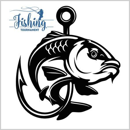 Poisson carpe. Signe ou emblème du club de pêche. Insigne d'aventure sportive de pêcheur avec logo vectoriel.